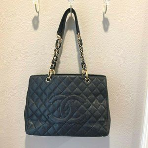 Chanel Grand Shopping Tote GST Blk Cavier Gold HW